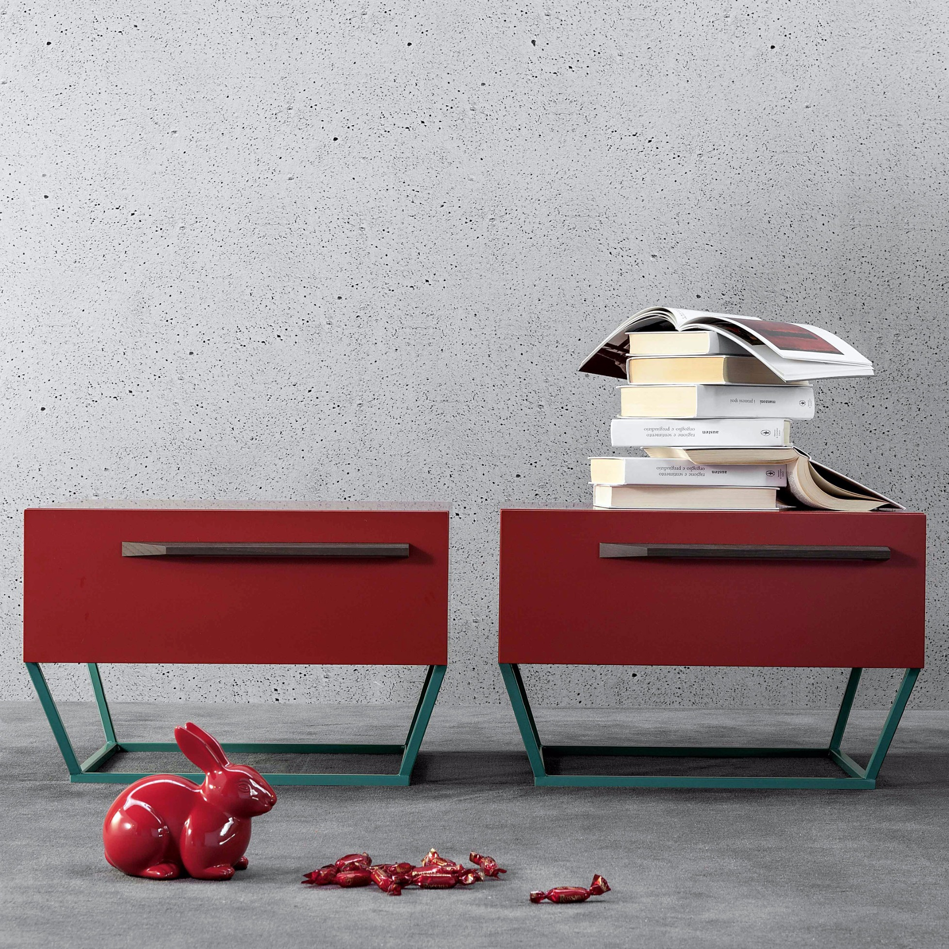 Bedside Table To Be With Trapezoidal Base By Bonaldo