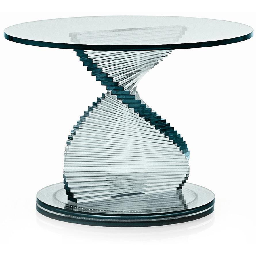 Elica glas beistelltisch von tonelli for Beistelltisch glas hohenverstellbar